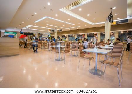 Trang, 25 June 2015: Food court of Tesko Lotus mall at Trang, Trang province, Thailand. - stock photo