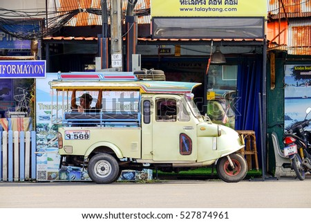 TRANG PROVINCE,THAILAND 23 : Motor tricycle waited for passenger in the city centre of Trang Province,November 23,2016,Thailand.