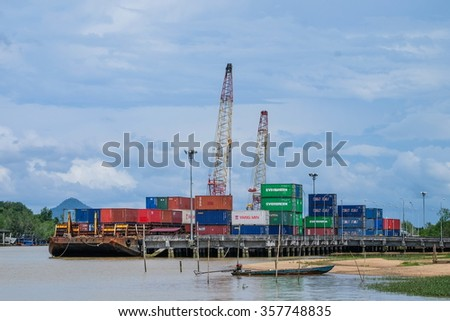Trang , Thailand. 30 Nov - 2015.  industrial port with containers