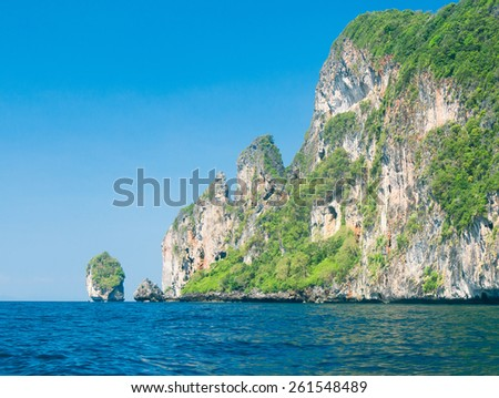 Tranquil Bay High Cliff  - stock photo