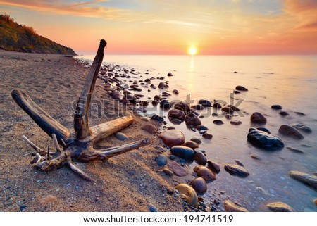 Tranquil colorful sunshine. Beautiful seascape with trunk on beach and coastal stones in the ocean. The Baltic coast, mediterranean sea, Poland. - stock photo