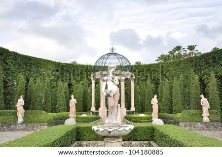 Tranquil Formal Garden - stock photo