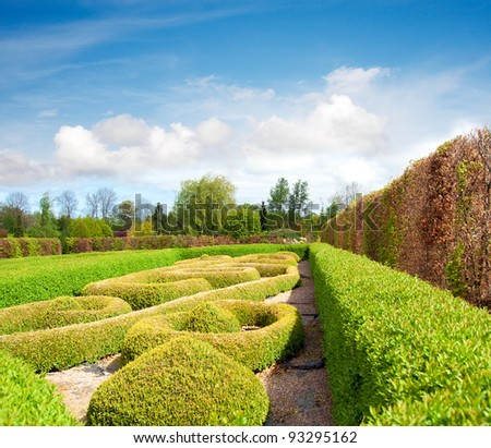 Tranquil Formal Garden in spring - stock photo