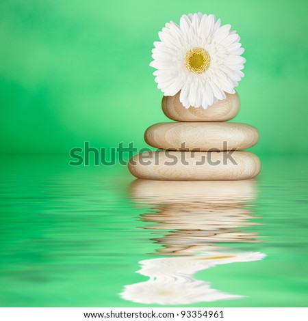 Tranquil Green Spa Water Background with Bamboo Wood Stones & White Daisy Flower - stock photo