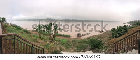 Tranquil Khong river in the morning, beautiful nature scene background