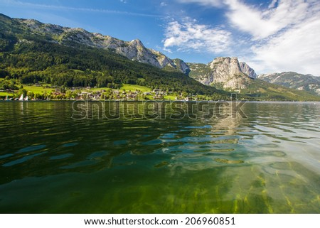Tranquil lake in high mountains Alps Austria