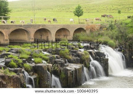 Tranquil landscape in KZN Midlands in South Africa - stock photo