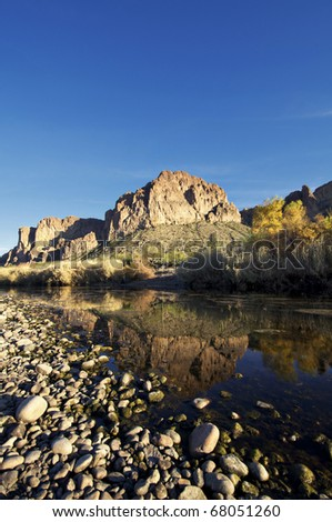Tranquil landscape photo of evening sunshine falling on a beautiful remote creek. - stock photo