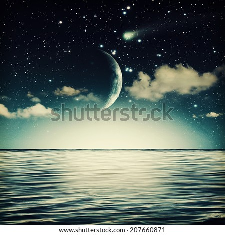 tranquil marine landscape with full moon on the sky - stock photo