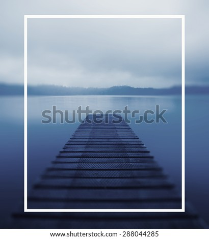 Tranquil Peaceful Lake Jetty Nature Concept - stock photo