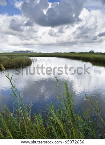 Tranquil river flowing between reeds, with the cloudy sky reflected on the water - stock photo
