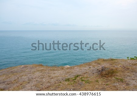 Tranquil scene of seascape and sky with sea coastline at Khao Laem Ya, Mu Ko Samet National Park in Rayong province, Thailand.