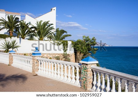 Tranquil scenery by the Mediterranean Sea in resort town of Nerja, Costa del Sol, Malaga province, Spain.