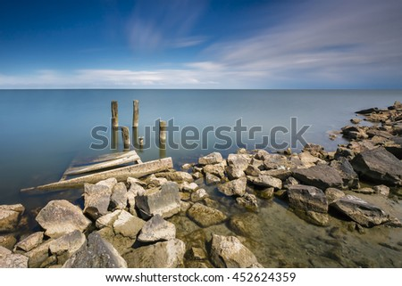 Tranquil Seascape In Long Exposure In Summer - stock photo