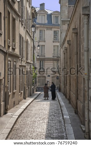 Tranquil spring morning in the 5th arrondissement - Paris - stock photo