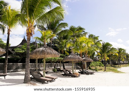 Tranquil tropical resort on Mauritius - stock photo