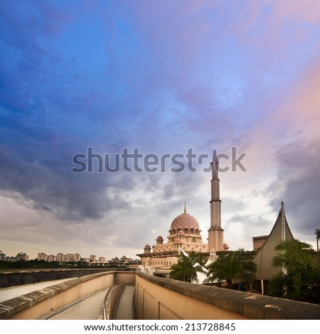 Tranquility landscape with mosque and clouds in Putrajaya, Malaysia, Asia. - stock photo