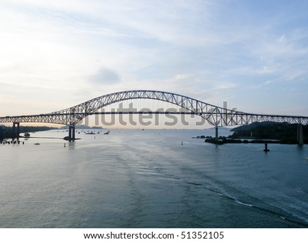 Trans American bridge in Panama connected South and North Americas - stock photo