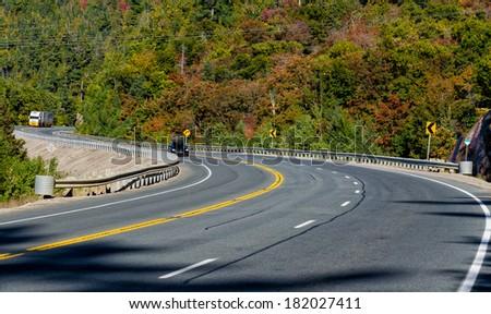 Trans-Canada Highway through northern Ontario - stock photo