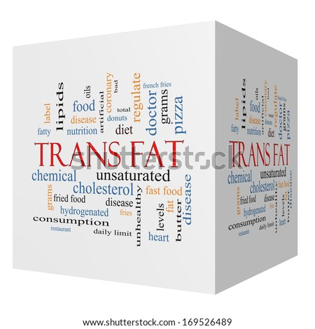 Trans Fat 3D Cube Word Cloud Concept with great terms such as grams, diet, unsaturated and more. - stock photo