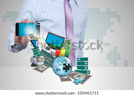 Transactions through the handheld of businessman. - stock photo