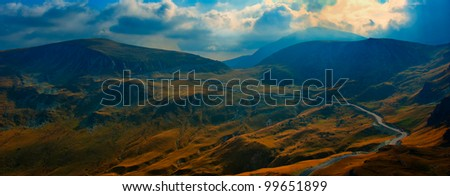 Transalpina, the highest altitude road in Romania, crossing the Parang mountains - stock photo