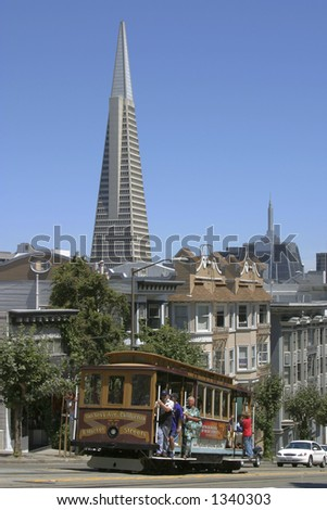 Transamerica building and Cable Car