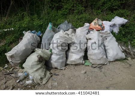 Transcarpathia, Ukraine - April 20, 2016: Garbage dump - stock photo