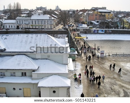Transcarpathia, Ukraine - January 27, 2005: Uzhgorod - city in western Ukraine, the administrative center of the Transcarpathian region