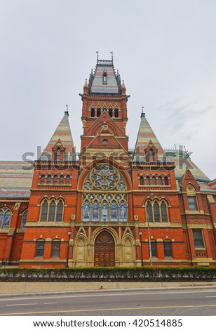 Transept of Memorial Hall of Harvard University in Cambridge, Massachusetts, USA. It was built in honor of men who died during the American Civil War. - stock photo