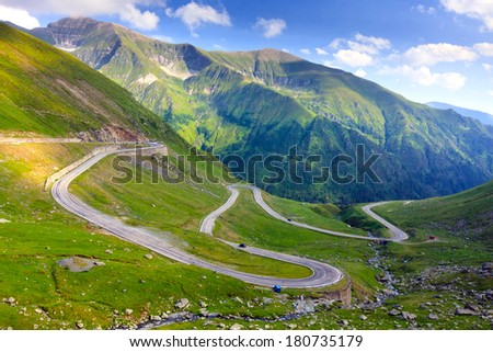 Transfagarasan mountain road, Romanian Carpathians  - stock photo