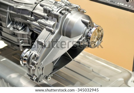 Transfer gearbox in a silver housing. - stock photo