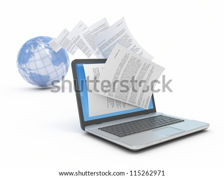 Transfer of files on the laptop. Reception of files on the laptop. Conceptual 3d illustration. - stock photo