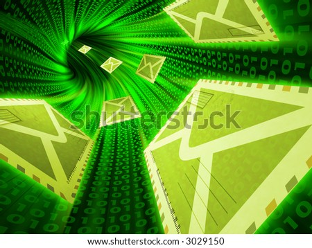 Transfer of letters by means of the Internet  technologies - stock photo