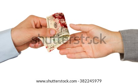 Transfer of money between man and woman, isolated on white, blood - stock photo