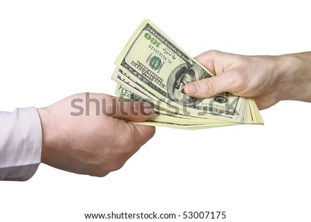 Transfer of money from hand to hand