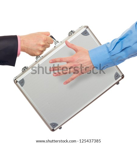 Transfer the silver metal case from hand to hand. Isolated on white - stock photo