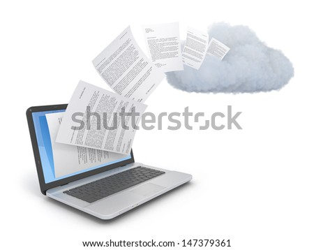 Transferring documents or data to a cloud network server. - stock photo