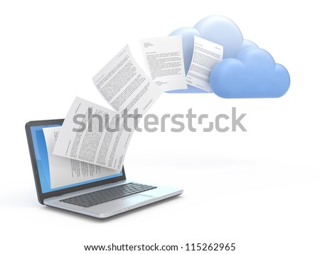 Transferring information or data to a cloud network server. - stock photo