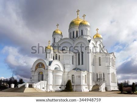 Transfiguration Cathedral of Holy Trinity-Saint Seraphim-Diveyevo Monastery. Nizhny Novgorod Region. Russia - stock photo