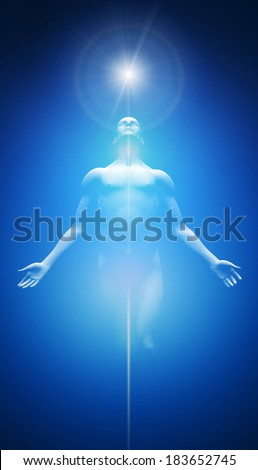 Transformation into light blue - stock photo