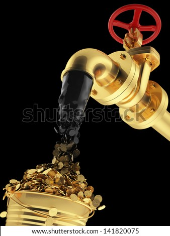 Transformation of oil (petroleum) directly into money. Business concept. Black gold. Mineral mining as it is. Isolated on black. cash pipeline - stock photo