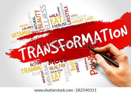 TRANSFORMATION word cloud, fitness, sport, health concept - stock photo