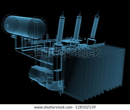 Transformator substation (3D x-ray blue transparent isolated on black) - stock photo