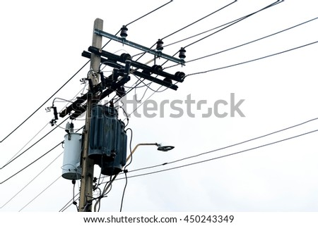 Transformer and power lines on electric pole, Clipping path , isolated on white background - stock photo