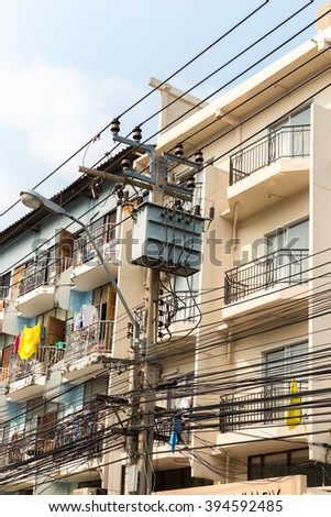 Transformer front the building of Bangkok thailand. - stock photo