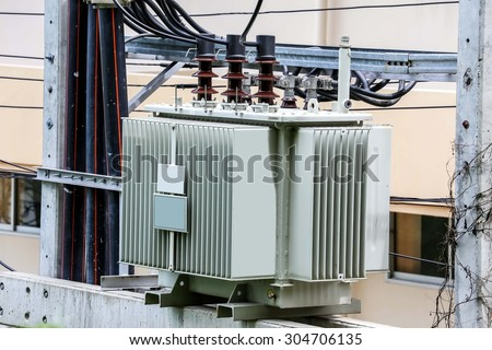 Transformer High voltage electrical  - stock photo