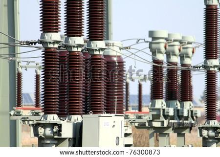 transformer isolator transformer station - stock photo