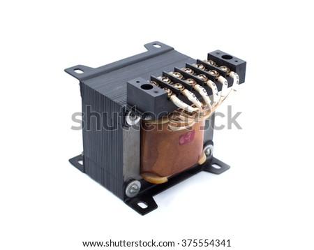 transformer low voltage appliances on a white background. - stock photo