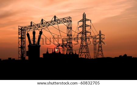 Transformer on Electricity Substation - stock photo